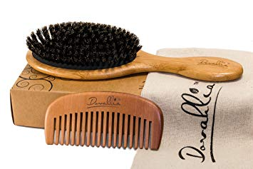 Dovahlia Boar Bristle Hair Brush With Wide-Tooth Comb